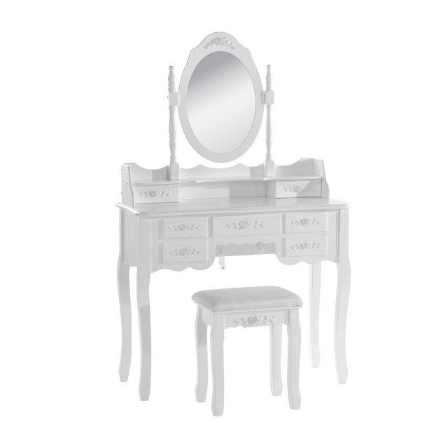Tavolo da Trucco Specchiera con Sgabello ben Imbottito Tavoli Cosmetici Toeletta con 7 Cassetti in Legno Specchio Inclibile Bianco