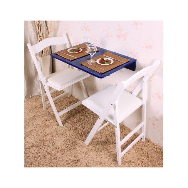 Tavolo pieghevole a muro Tavolo cucina Scrivania piccola salvaspazio 60*40 CM Blu in legno FWT03B