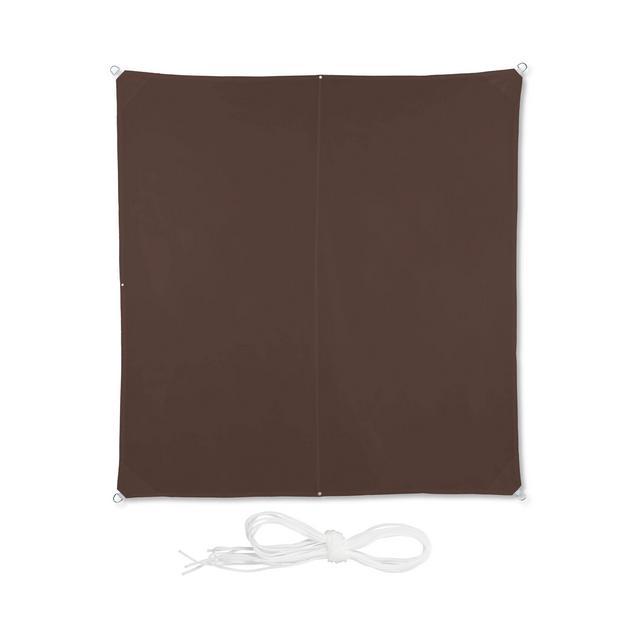 Tenda a Vela Quadrata Impermeabile Anti UV con Corde di Supporto Terrazza Giardino LxP 3x3 m Marrone