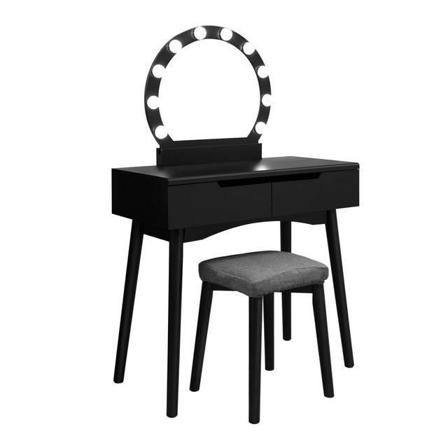 Toletta Tavolo da Trucco con Specchio e Lampadine per Il Make Up Sgabello Imbottito e 2 Ampi Cassetti Scorrevoli Nero