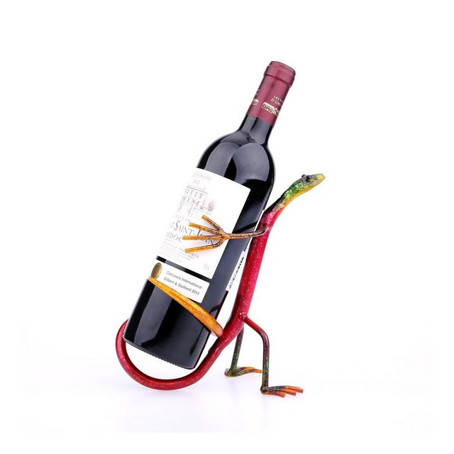 Tooart Portabottiglie Gecko Wine Rack Wine Shelf Scultura in metallo