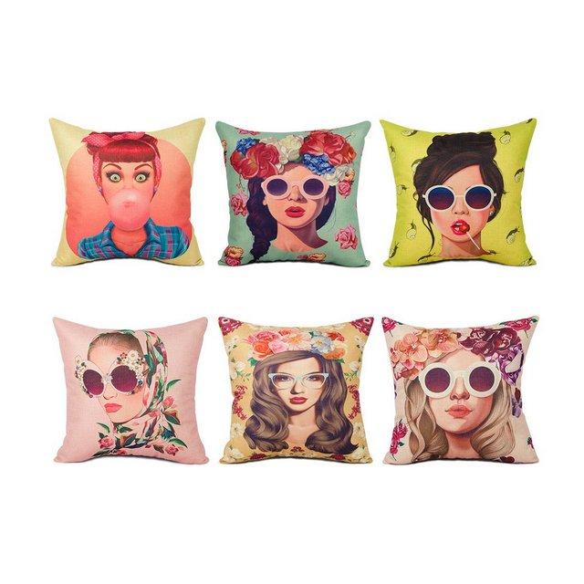 Topfinel Federe Cuscini Ragazza Stampa Decorativa Colorata Copriletto Coperture Creativo per divano letto6 pezzi457 x 457 cm