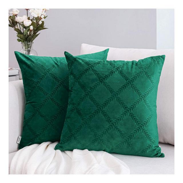 Topfinel Federe cuscini divano letto in velluto tartan scozzese cuscini decorativi pelosi federa per cuscino abbraccio peloso 2pezzi 40 x 40 cmverde scuro