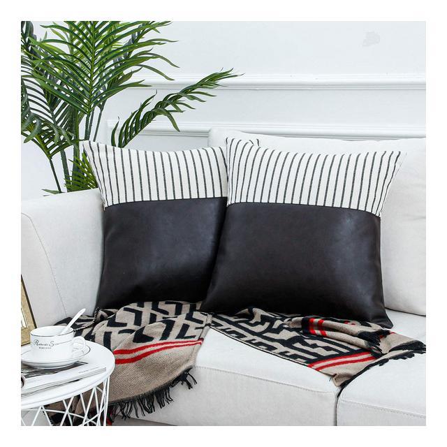 Topfinel Federe cuscini divano testata letto in cotone lino e in pelle imbottituri cuscini decorativi pelosi federa per cuscino 50x50cm2pezziMarrón claro