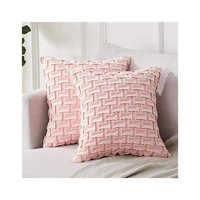 Topfinel Soft Velvet Pillowcase Decorative Luxury Horizontal Grid Cushion Cover Square Pillow Home Decor Cover for Sofa Bed Car 40cm x 40cm16x16in PinkSet of 2