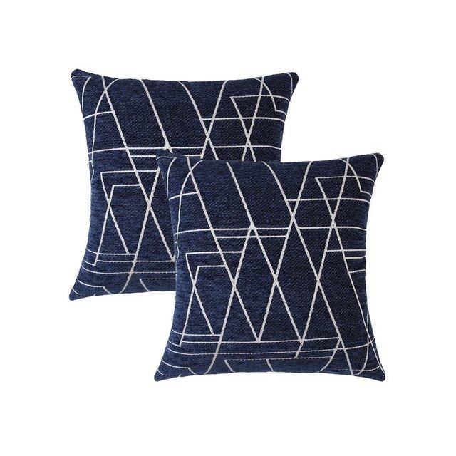 Topfinel Velluto Federe Cuscino Geometria Fodere con Cuscini Coperture per Divano Decorativi Letto Arredo di 245x45cm Blu