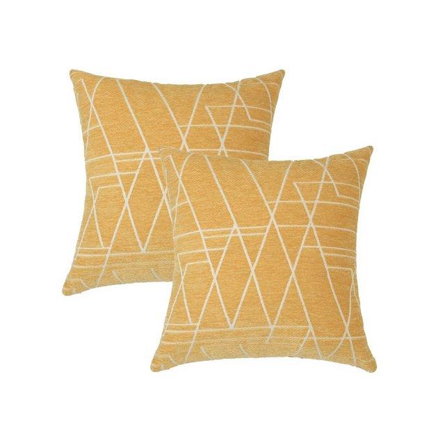 Topfinel Velluto Federe Cuscino Geometria Fodere con Cuscini Coperture per Divano Decorativi Letto Arredo di 245x45cm Giallo