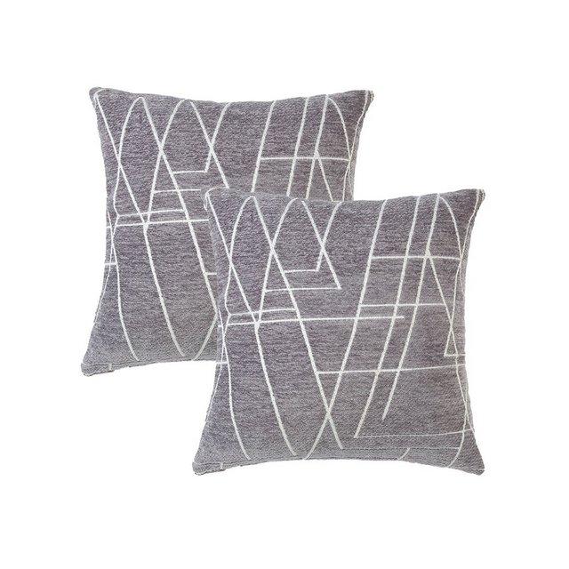 Topfinel Velluto Federe Cuscino Geometria Fodere con Cuscini Coperture per Divano Decorativi Letto Arredo di 245x45cm Grigio