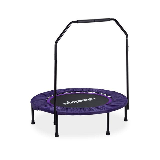 Trampolino Indoor Tappetino Elastico con Barra Stabilizzatrice Unisex – Adulto NeroLillà 113 x 102 x 102 cm
