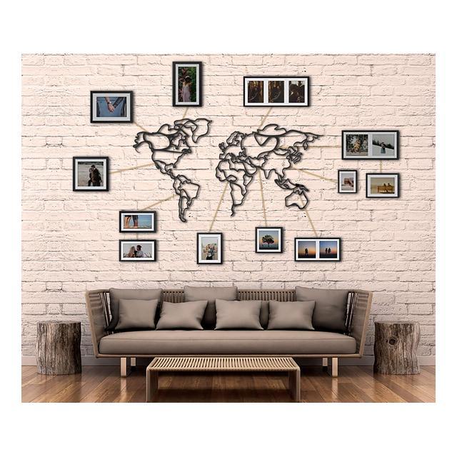 Tubibu Mappa del Mondo Decorativa Decorazione da Parete in Metallo Decorazione per casa Ufficio Camera da Letto Soggiorno 110 x 60 cm