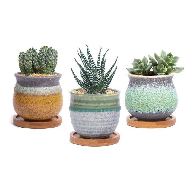 Vaso per Pianta Grassa Vaso di Piante Pancromatico Ceramica Set di 3 Fioriere di Cactus Contenitori Vasi Fiori Decorativo Desktop Davanzale Decorativo Desktop Davanzale Regalo di tale