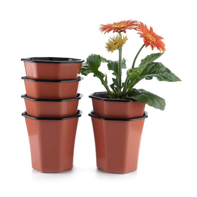 Vaso per Pianta da InterniEsterni Rosso Mattone 13CM Plastica Ottagono Set di 6 Vasi di Piante Portavaso Contenitori con Inserto in Plastica Decorazioni CasaInternoEsternoMatrimonioGiardino