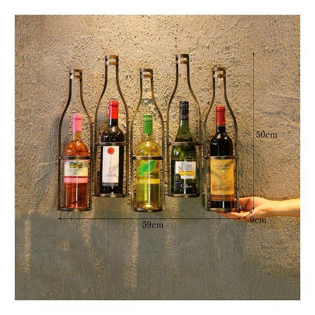 Vintage Parete in Ferro battuto Vino cremagliera Ristorante Parete arazzi Loft Creativo Bar Vino Rack Ciondolo Decorativo Colore B