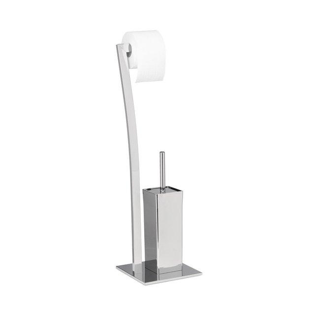 WIMEDO Set per WC Rotolo e Porta Scopino Argento 20x20x71 cm