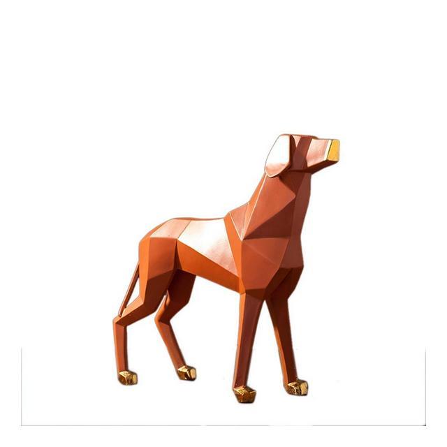 ZLBYB Decorazione SculturaNordico Moderno Astratto Resi Geometrica Cane Statua Scultura Francese Animale Figurine Ormento Decorazioni Artigiali Minimalista Color A