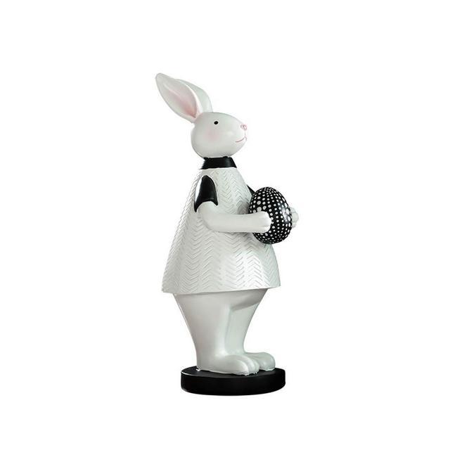 ZLBYB Ormento in Piedi di Coniglio Statuetta da terrazza Statua in Miniatura Simpatico Coniglietto da Patio Decorazioni da Esterno Scultura for Il Tuo Giardino casa o Ufficio Color B
