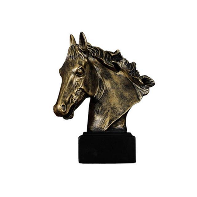 ZLBYB Statuetta Grande Scultura in Bronzo Antico Finitura Testa di Cavallo Statua Busto Statua Scultura in Resi Lunga Stallone