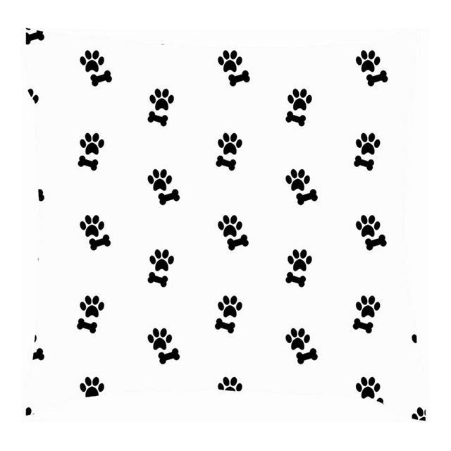 Zampa di Osso Nero su Fodere per Cuscini Abstractthrow Bianche Fodere per Cuscini in Cotone e Lino Federe