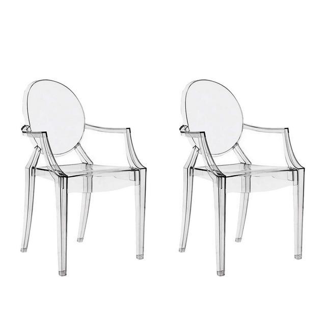 chairs4you Set di 2sedie Trasparenti inspirees Louis Ghost Sala Pranzo cucina Dressing Salotto Ufficio Trasparente Sedia Cristallo