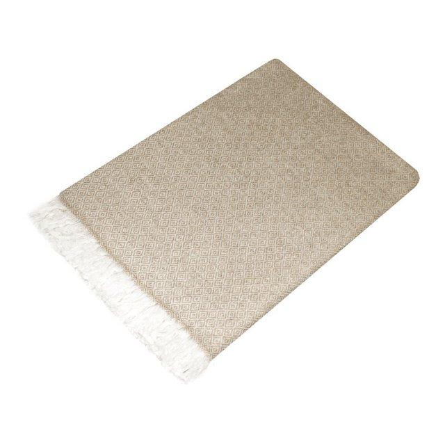 coperta in la di 100% cachemire–Copriletto Copriletto copridivano o Plaid–Exquise e Douillette in beige bianco