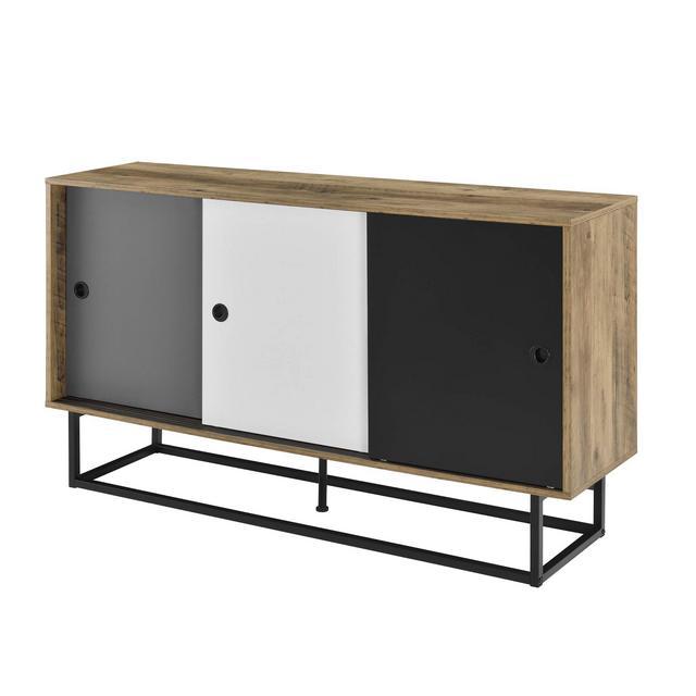 [encasa] Mobile TV 140 x 35 x 80 cm Comodino con Porte scorrevoli Metallo MDF BiancoGrigioNero