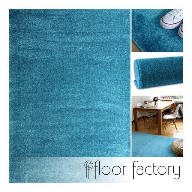 floor factory Tappeto moderno Kolibri blu turchese 140x200cm colori vivaci e facile da pulire