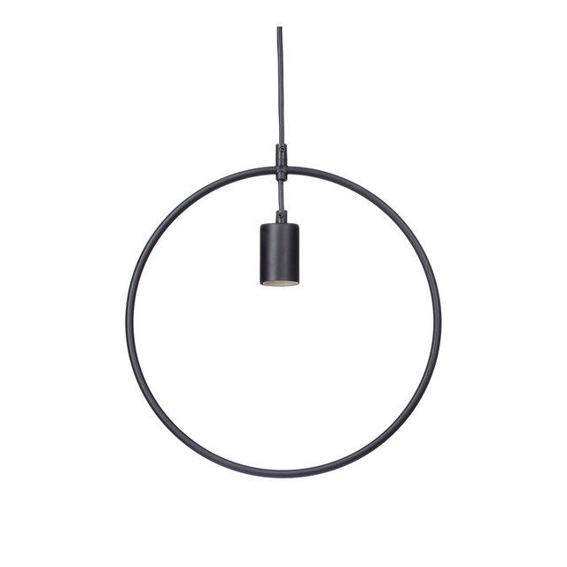 lampadario Lampada Sospensione Moderno KONTUR Design Cerchio Contorno Metallo per Tavolo da Pranzo HxLxP 125x34x45 cm Nero