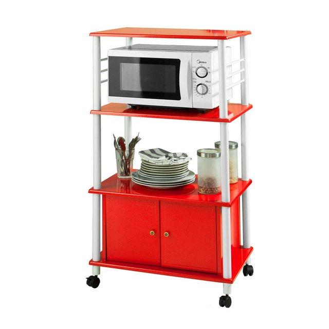 mensola per forno a microonde Carrello da cucina armadietto cucina rossoFRG12RIT