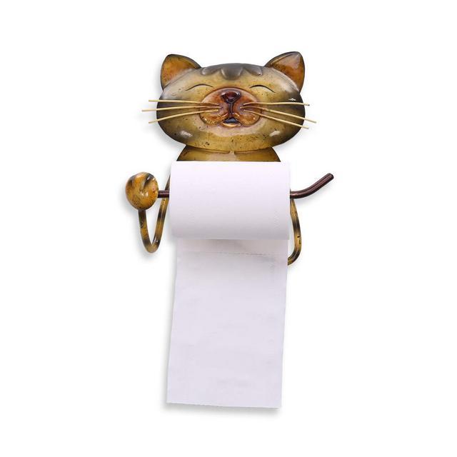 portarotolo Gatto Vintage in Ferro Lavorato a Mano con Porta Asciugamani Porta Carta igienica Supporto Porta Asciugamani in Piedi per Bagno o cucina
