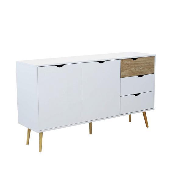 srls Credenza Mobile Madia Moder in Legno Colore Bianco di Design Moderno Stile Minimalista cm 147 x 39 x 82 h