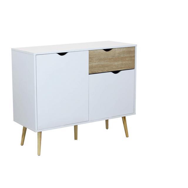 srls Credenza Mobile Madia Moder in Legno Colore Bianco di Design Moderno Stile Minimalista cm 99 x 39 x 82 h