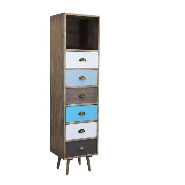 srls cassettiera in Legno Mobile per Interno con 6 cassetti di Design Stile Country Moderno Vintage cm 40 x 365 x 144 h