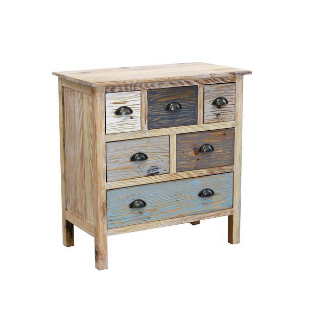 srls cassettiera in Legno Mobile per Interno con 6 cassetti di Design Stile Country Moderno Vintage