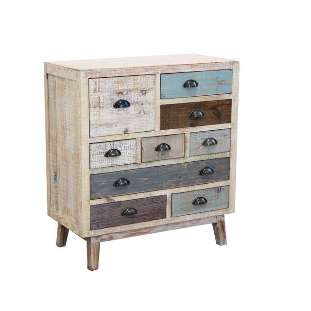 srls cassettiera in Legno Mobile per Interno con 9 cassetti di Design Stile Country Moderno Vintage