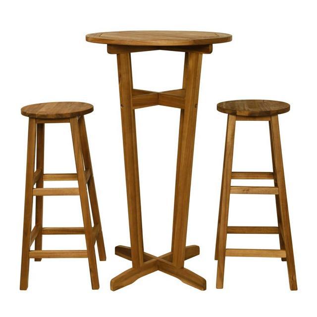tidyard Set Tavolino BarSet Mobili Bistro per Interno Che Esterno Tavolo con 2 Sedie Legno Massello di Acacia