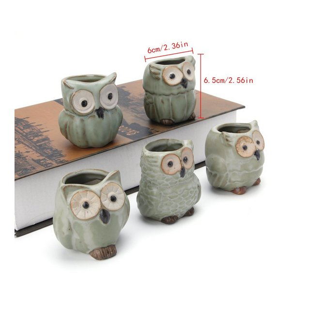 topsell 5pcs Cute Owl Ceramic Succulent Planter miniatura Flower Plant vasetti Office Decor