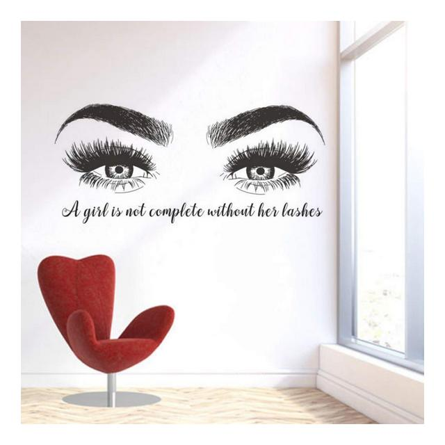 youjiu Wall Sticker Beatuy Salon Quotes Vinile Wall Sticker Lashes Extension Winodow Art Poster Decor